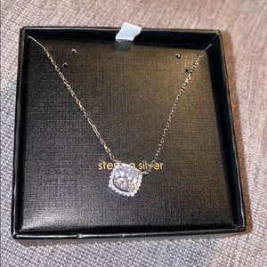 Sterling silver clear cz stone necklace